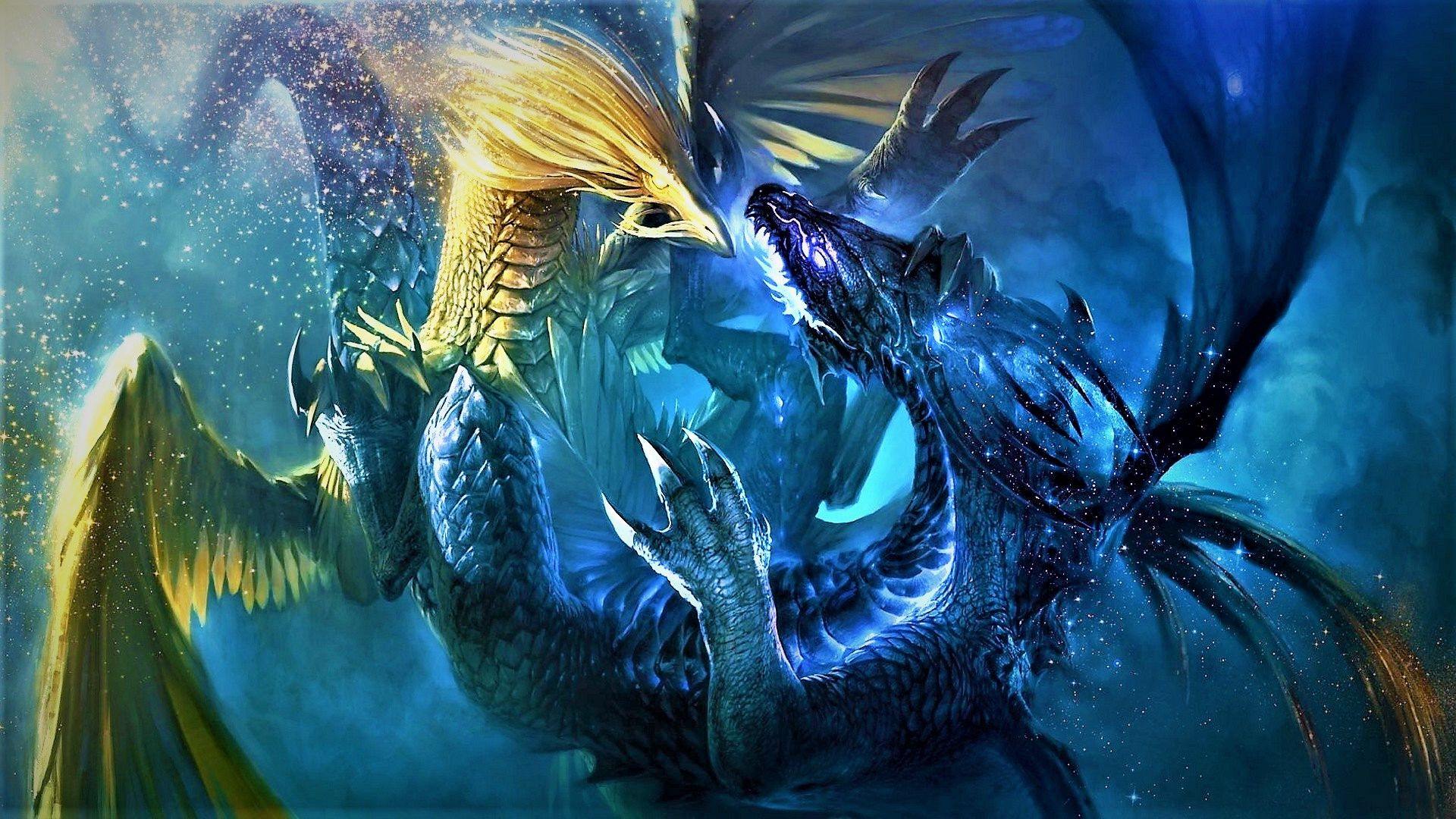 Fantasy Dragons Fighting Dragon Fight Wallpaper Backgrounds Computer Wallpaper