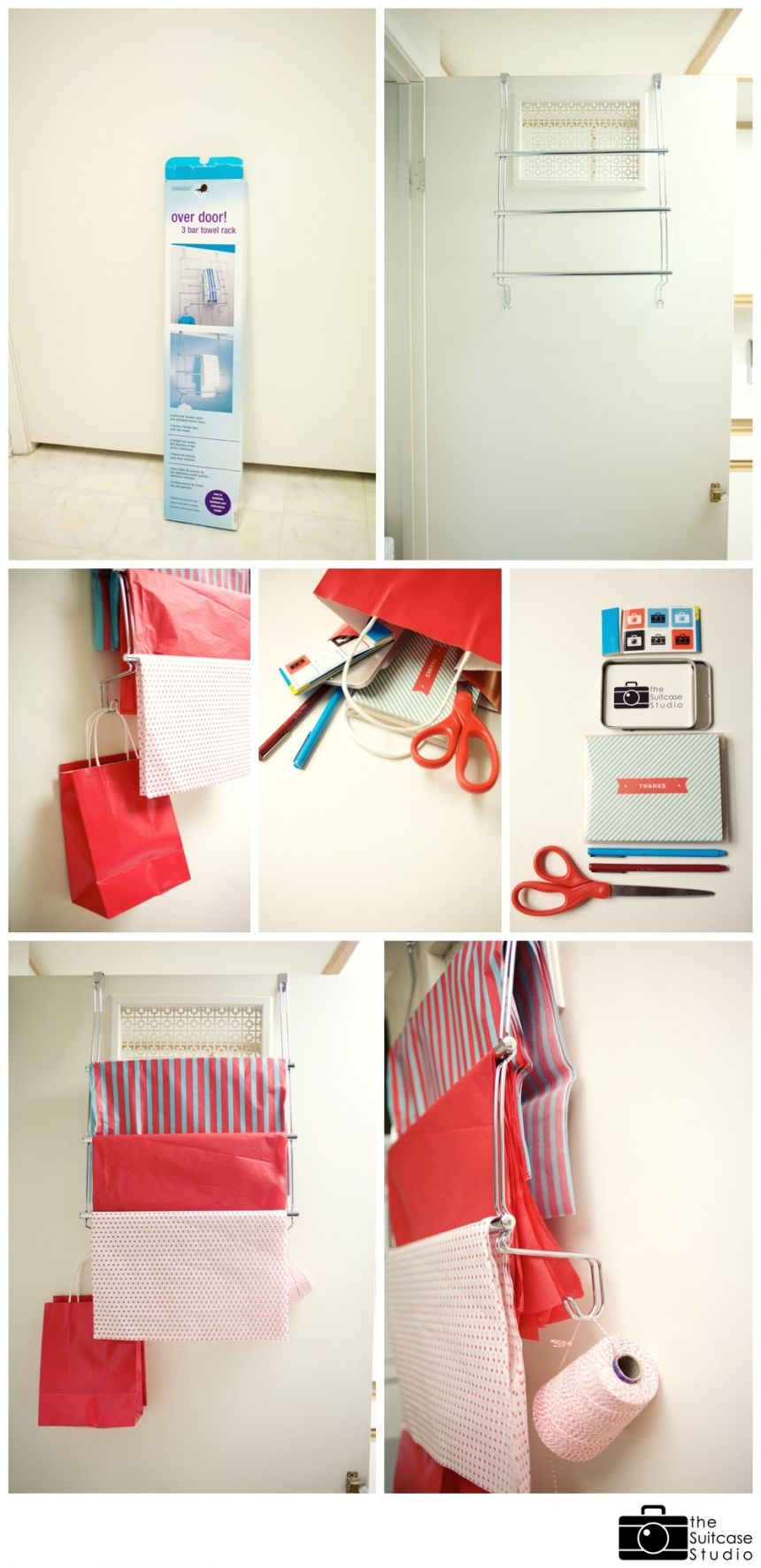 DIY Over The Door Wrapping/packaging Station Using A Simple Towel Rack!