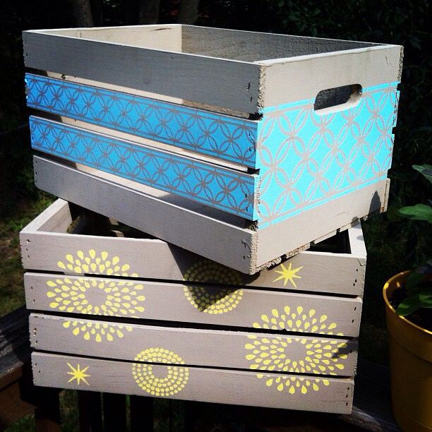Michaels Wooden Crates Painted Then Stenciled Wooden Crates Crates Wooden Crate