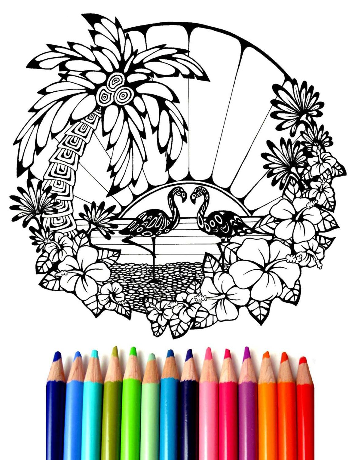 Coloring sheets for adults flamingo - Flamingo Coloring Sheet Hand Drawn Coloring Page Ocean Coloring Page Palm Tree