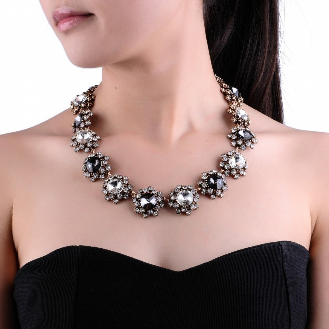 Fashion Charm Jewelry Grey Mix old golden color Glass Rhinestone Statement Bib Choker Necklace [N0008656] - $5.66 : FindJewel.comFindJewel.com,discount code :pp 12% off. no minimum order.welcome deadline is Feb.12th