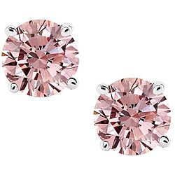 14k White Gold 1ct Tdw Pink Diamond Stud Earrings