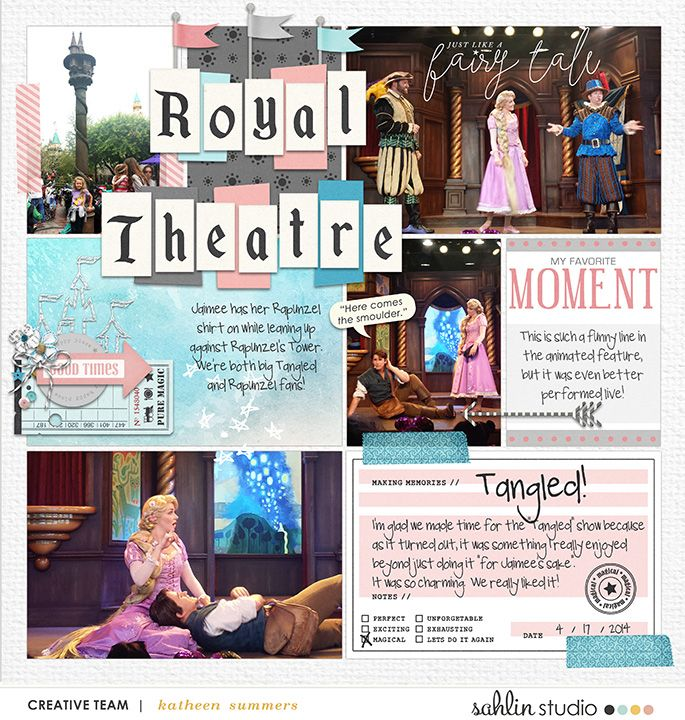 Royal Theatre Tangled Disney Project Life layout using Project Mouse: Beginnings Kit and Journal Cards by Sahlin Studio and Britt-ish Designs