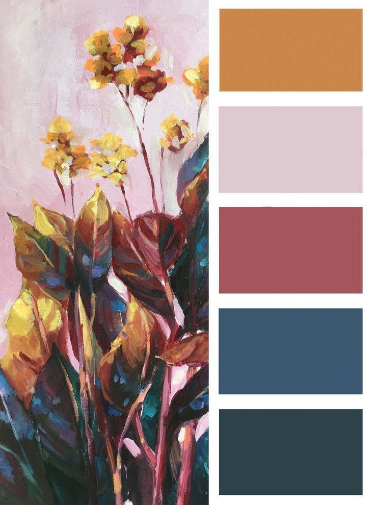 "Photo of arte de pared de flores tropicales ""Pink Paradise"" – estudio de arte"