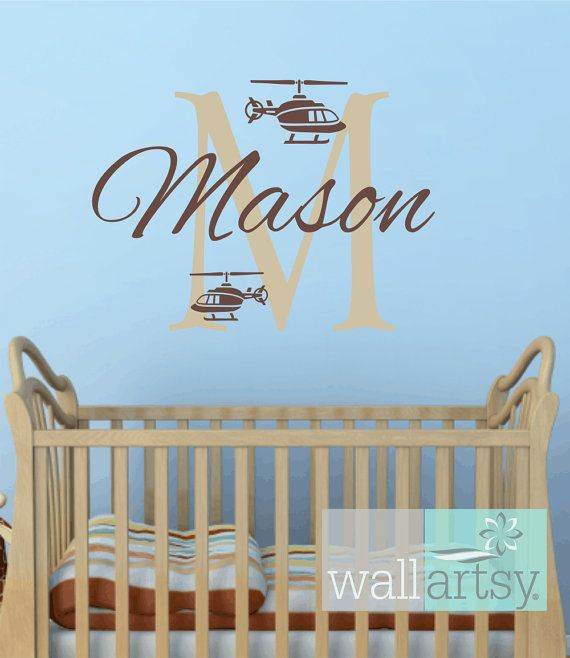 helicopter wall decals personalized initial and name vinyl wall