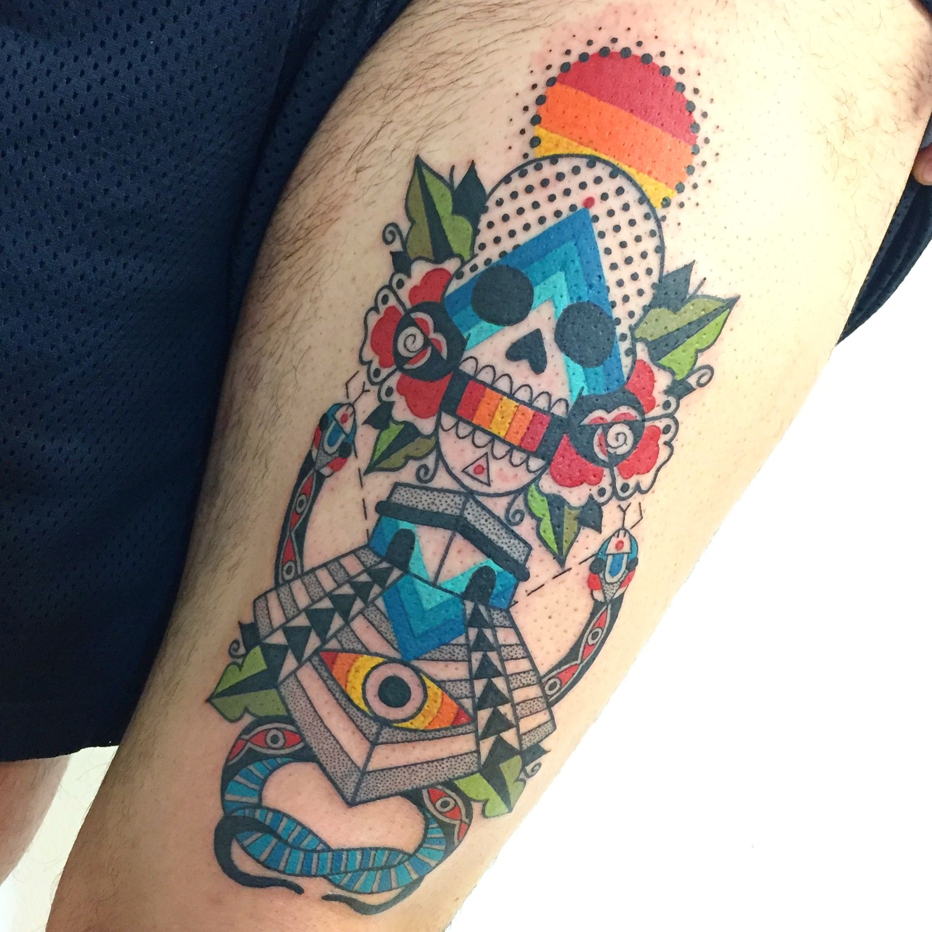 Aztec Temple Tattoo winston the whale - aztec temple, snake, skull, roses and