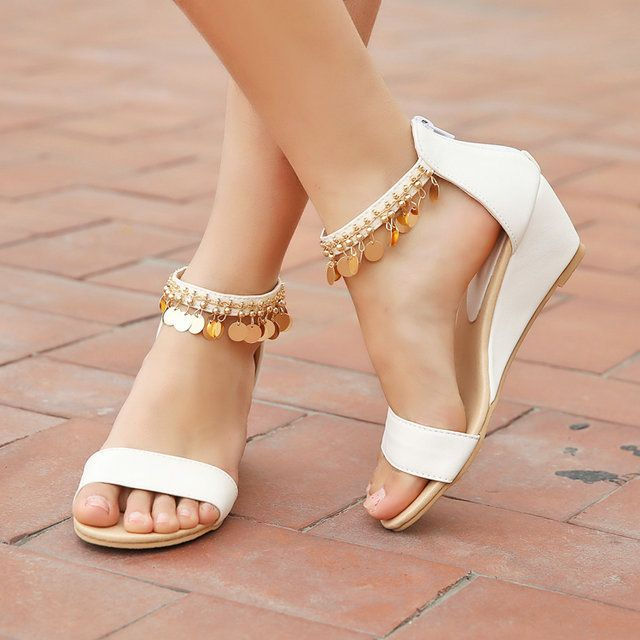 size 30 43 freeshipping Ladies summer wedges sandals low