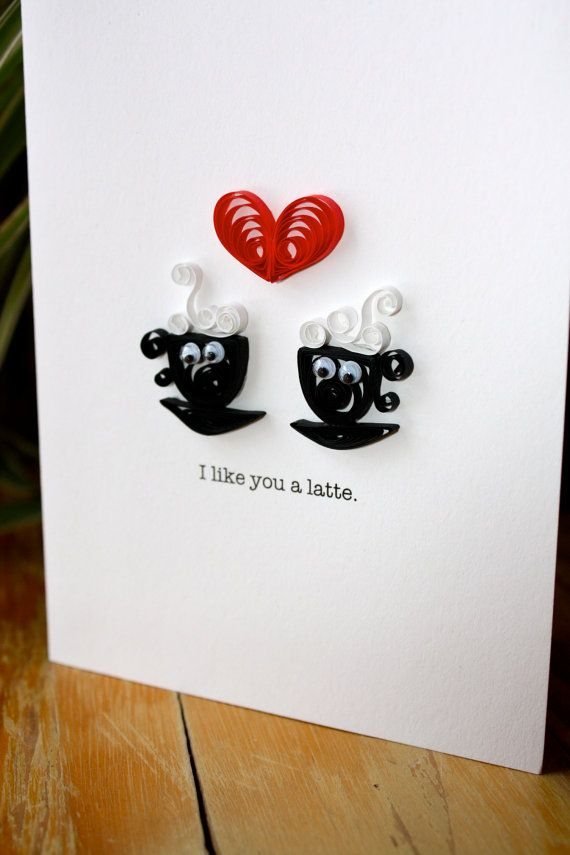 I like you a Latte Coffee Cup Card  Unique by SweetSpotCardShop, $6.50