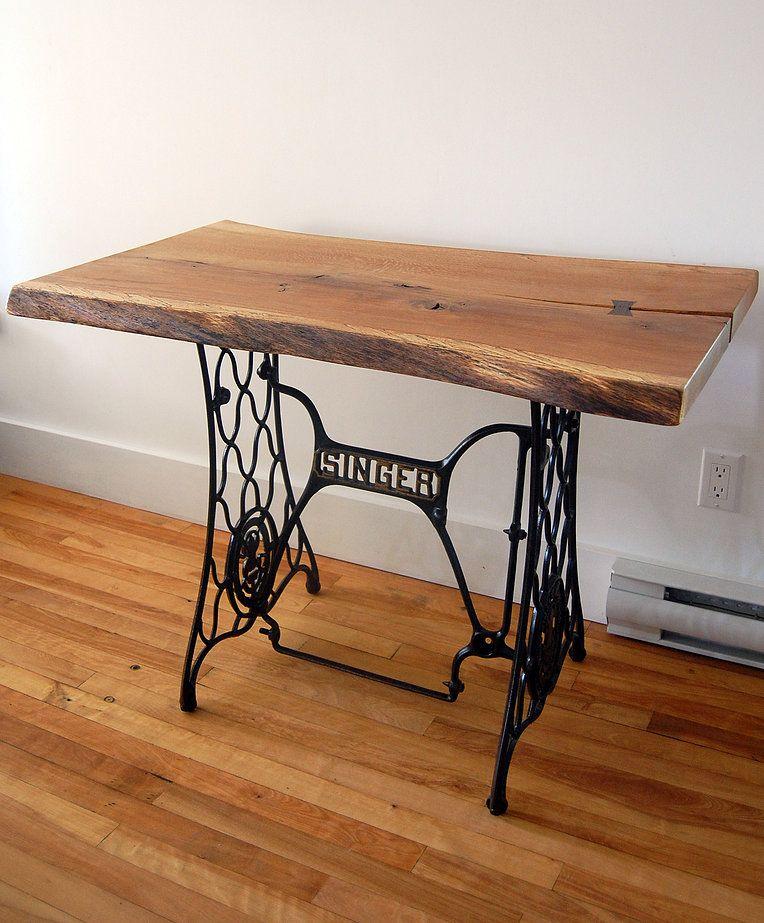 r cup ration d 39 une base de machine coudre dessus en ch ne blanc 39 39 live edge 39 39 www. Black Bedroom Furniture Sets. Home Design Ideas