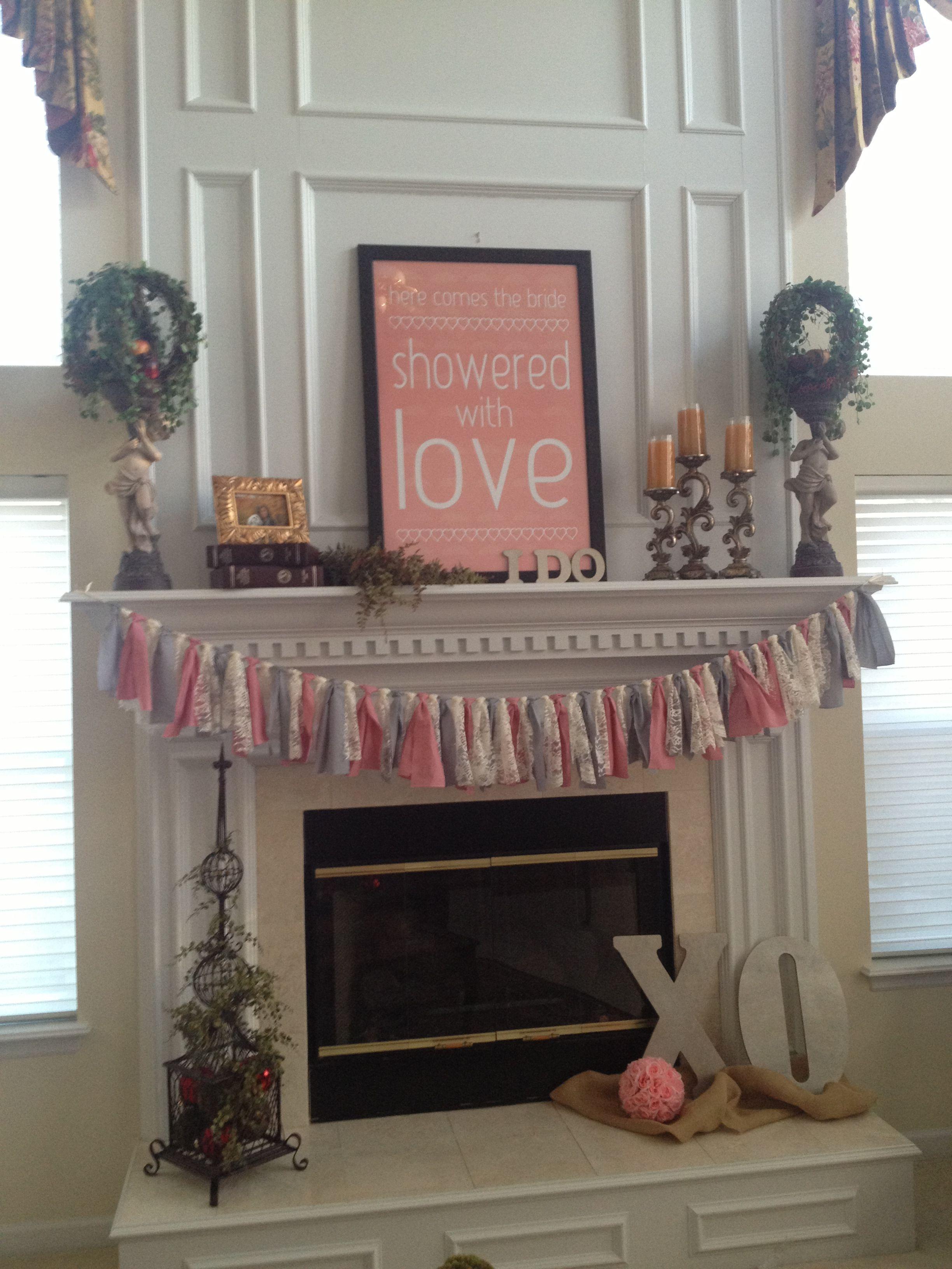 Romantic Themed Bridal Shower. Mantle/Fireplace Decor