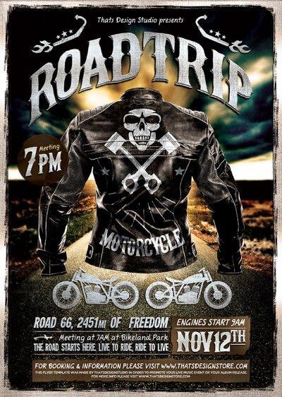 Motorcycle Road Trip Flyer Template