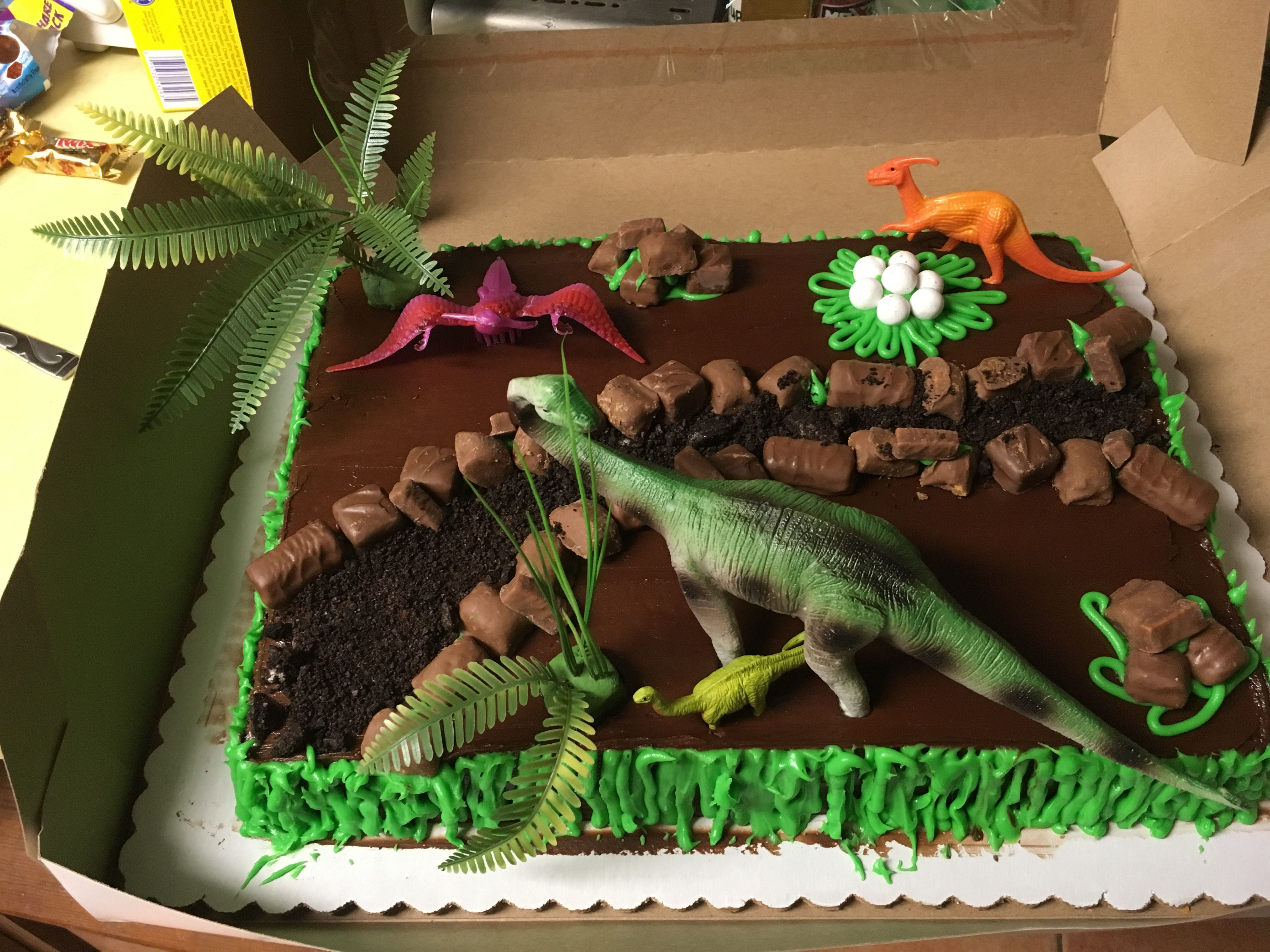 Perfect For A Dino Birthday Party Bought Half Sheet Chocolate Cake With Frosting The Rest I Did Myself Candy Oreo Crumble And Fake