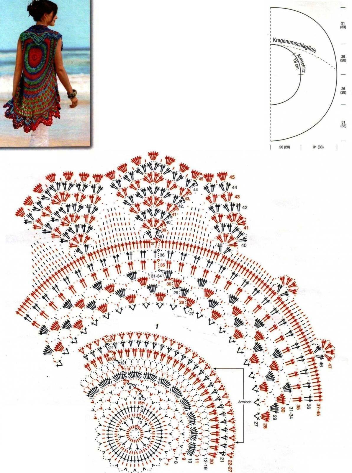 Patrón de Chaleco Redondo   Tejidos   Pinterest   Crochet