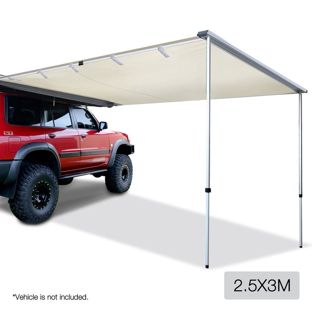 25x3M Side Awning For Car Vehicle Roof Camper Trailer 4WD 4x4 Camping Beige