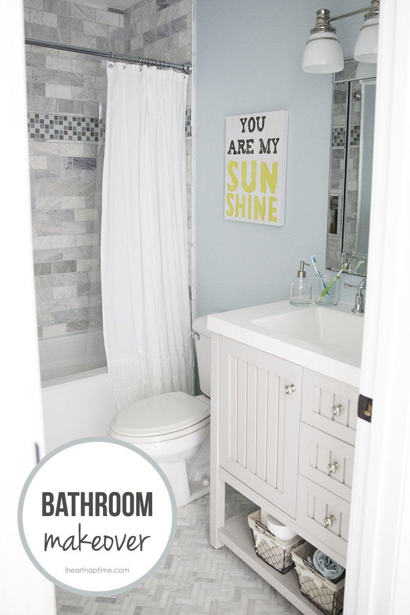 Bathroom Makeovers Grey bathroom makeover + free printable | blue bathrooms, bathroom