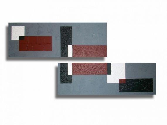 Tableau peinture toile rouge abstrait moderne abstrait - Tableau rouge noir gris moderne ...