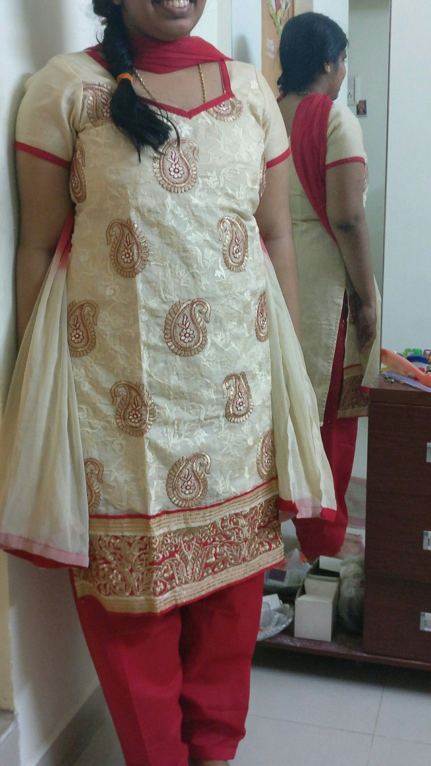 Gold and red salwar kameez