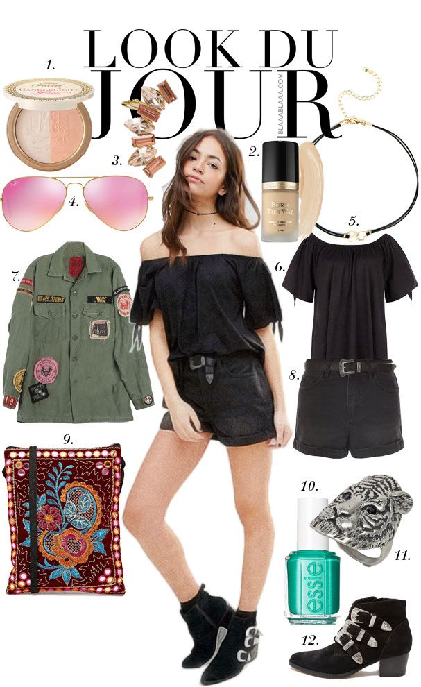 Look Du Jour: Murphys. Offt the shoulder black top+black shorts+black booties+military khaki jacket with stickers+printed clutch. Summer outfit 2016