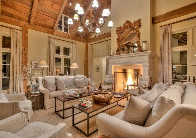 Living Room Neutral Living Room Neutral French Country Living Room With Linen French Country Living Room French Country Fireplace Country Fireplace