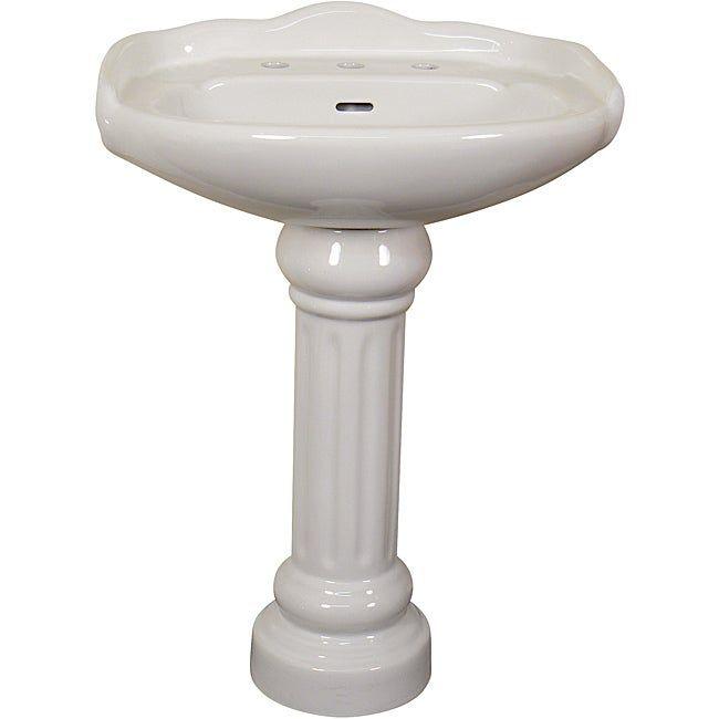 Fine Fixtures Ceramic 22 Inch White Pedestal Sink Ceramic White