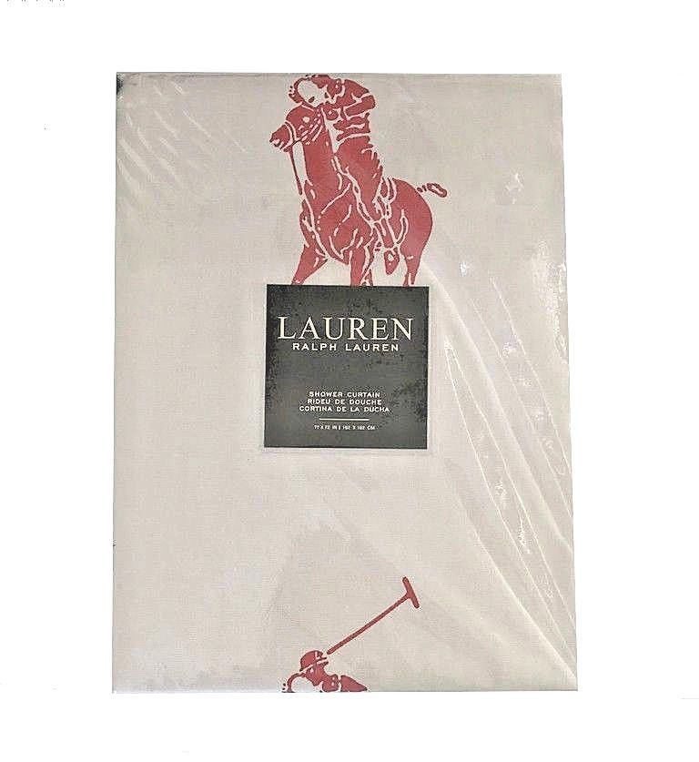 Ralph Lauren Shower Curtain Fabric Red Big Polo Pony New 72 X72