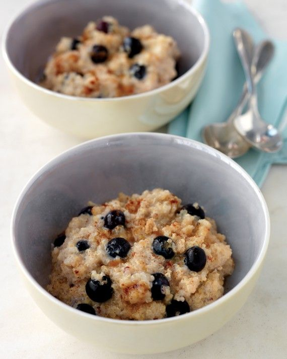 Quinoa Recipes - A warm breakfast studded with blueberries is sure to keep you full until lunch.
