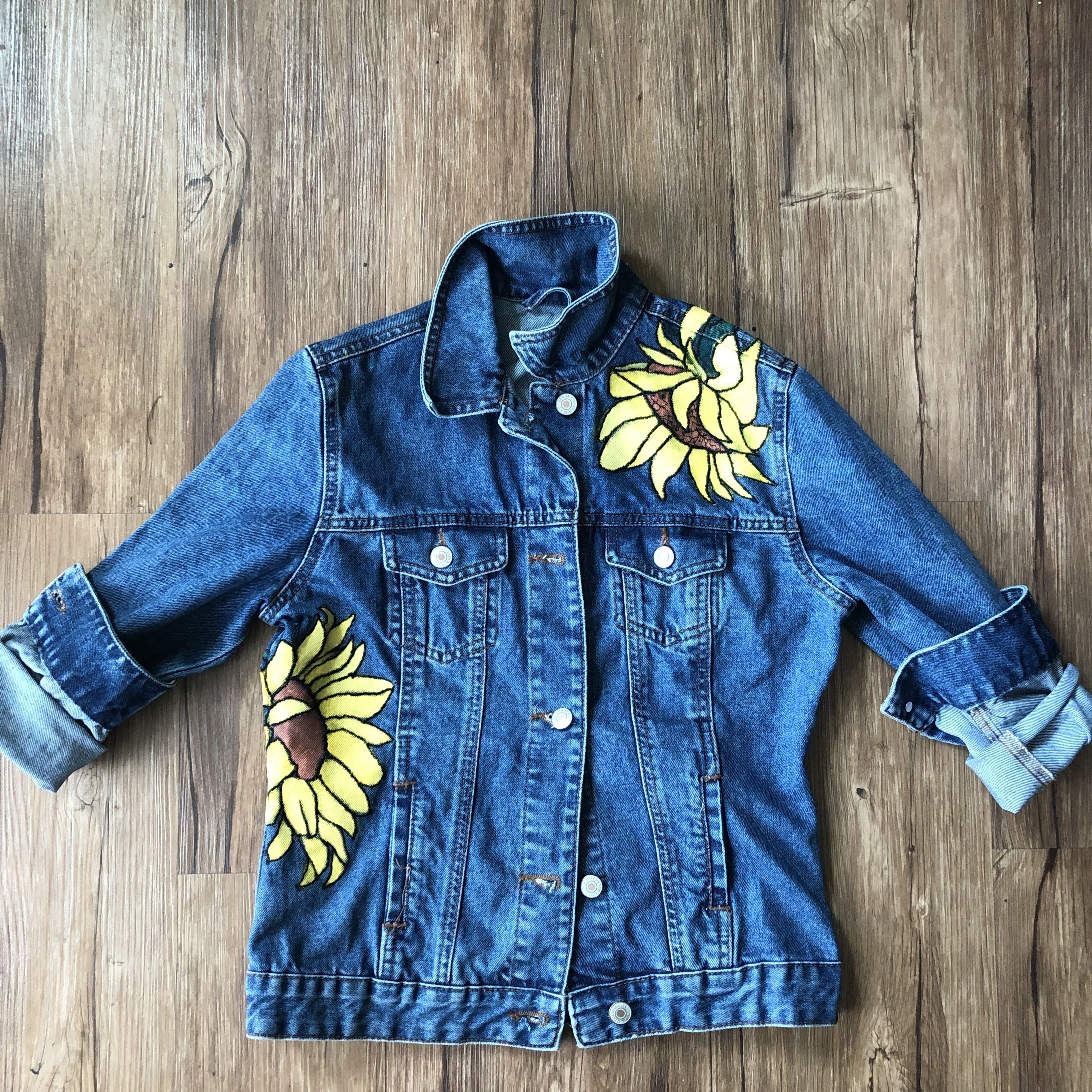 Front Sunflower Jean Jacket Painted Clothes Clothes Jean Jacket Diy [ 3024 x 3024 Pixel ]