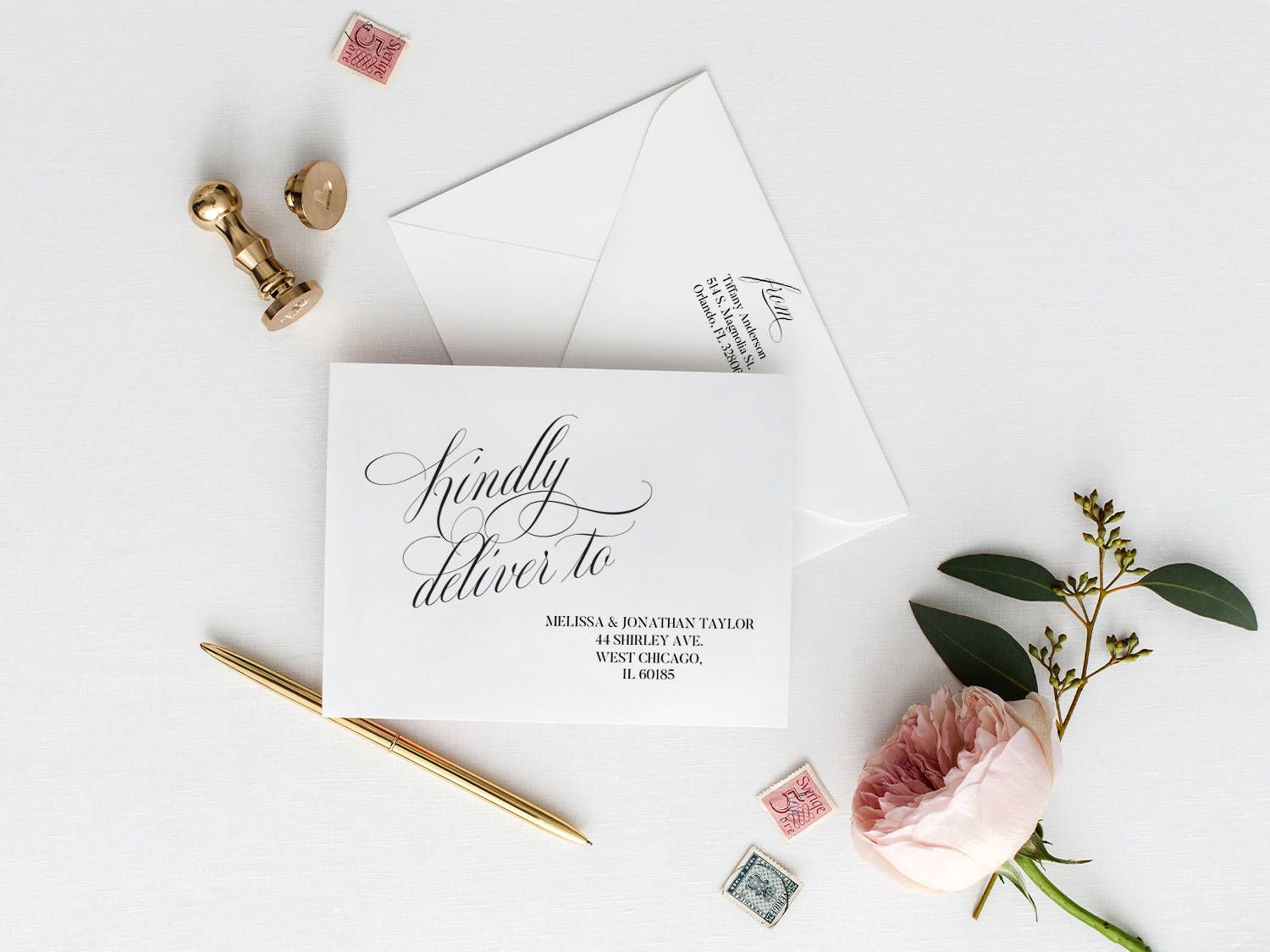 Printable Envelope Template Calligraphy Wedding Envelope