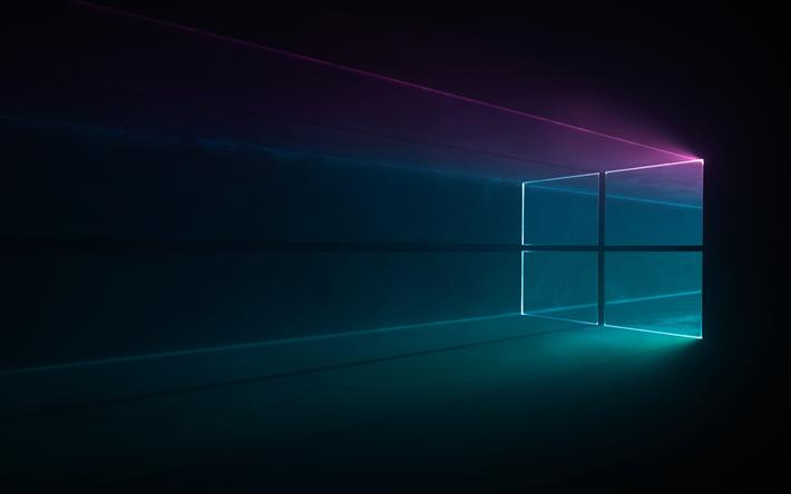 ダウンロード画像 暗闇 Windows10 ネオン 創造 Microsoft Wallpaper
