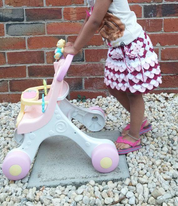Skirt Girls Crochet Little and/or Toddler Skirt by PomPomHobby