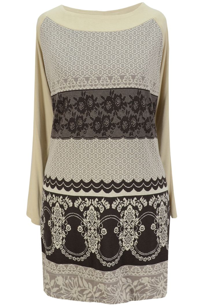 Aldona tunika oversize beż wzór koronkowy / Aldona oversize tunic beige lacy pattern #lace #tunic #beige #fashion #autumn #outlet