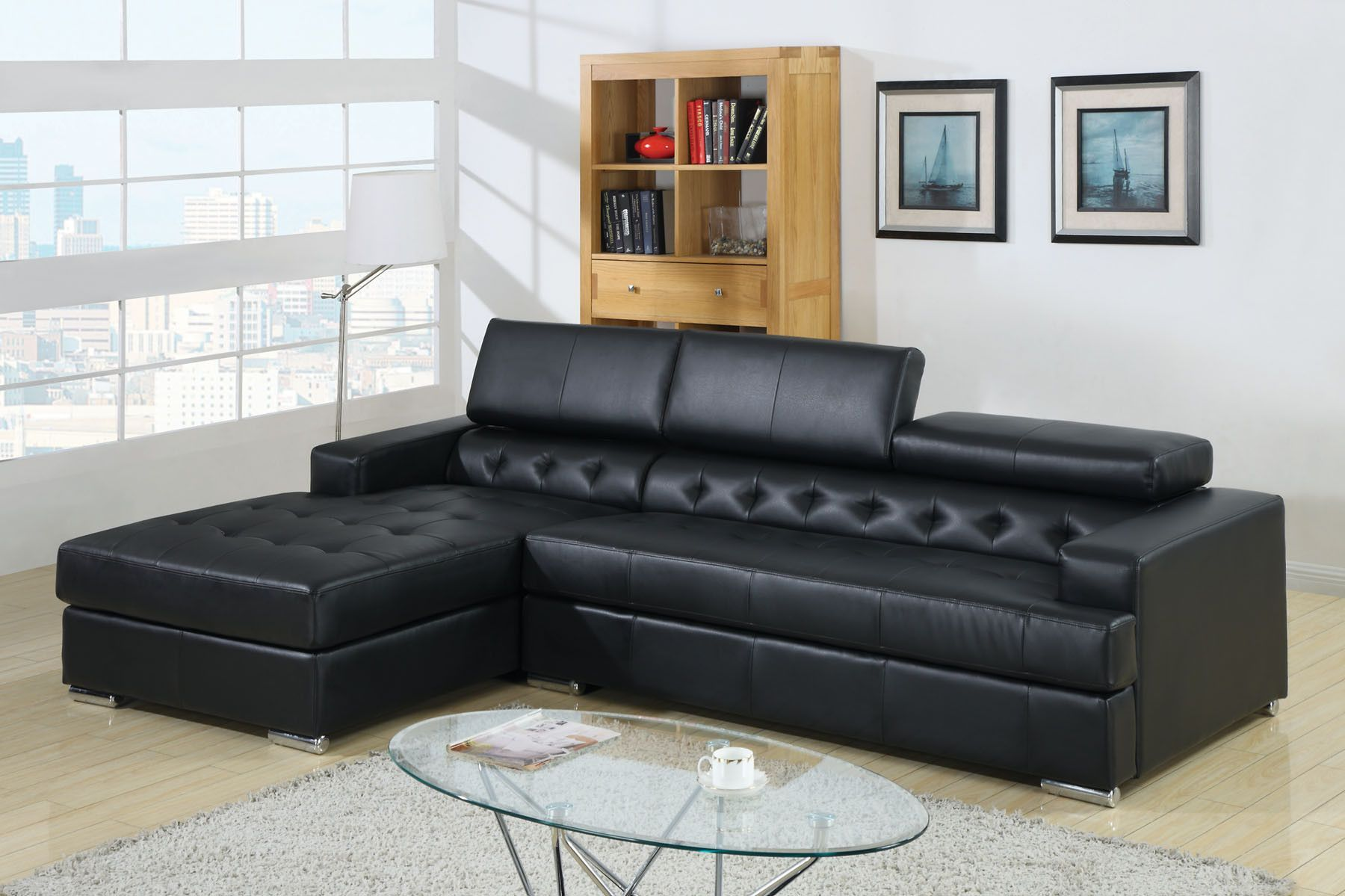 Floria black bonded leather sectional sofa cmbk products