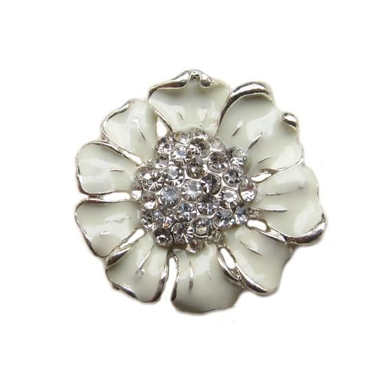 5 Cream Enamel Flower Rhinestone buttons - Wedding Bridemaid Hair Accessories Scrapbooking RB-048C (