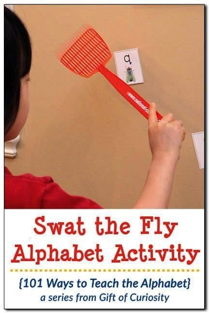 Fly gross motor alphabet activity 101 Ways to Teach the Alphabet Swat the Fly Alphabet Activity Grab a copy of this free printable that helps kids learn their letters whi...