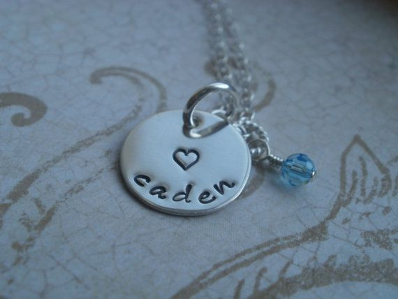Mommy Necklace Child's Name with birthstone hand by BeckOriginals, $29.00