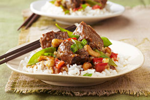 Asian style beef and white rice