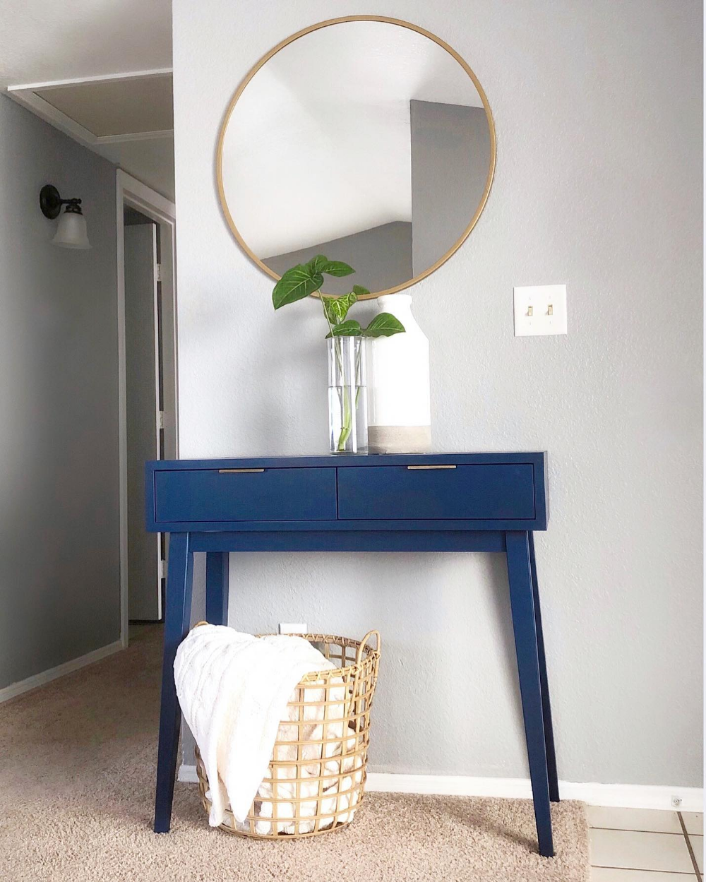 Hafley Two Drawer Console Table Project 62 In 2020 Blue Console Table Console Table Mid Century Modern Console Table