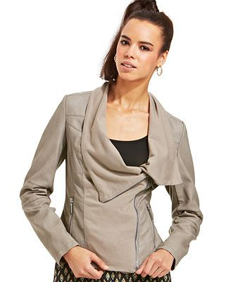 bar III Draped Faux-Leather Jacket. Draping and leather. I'm dying of perfect.