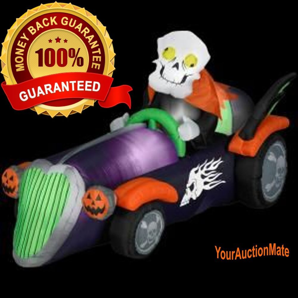 halloween inflatable gemmy large airblown skelly racer outdoor