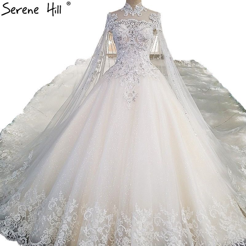 2018 White High End Luxury Lace Wedding Dresses High Neck Sequined Ball Gown Princess Bridal Dress V Wedding Dresses Wedding Dresses Lace Fancy Wedding Dresses