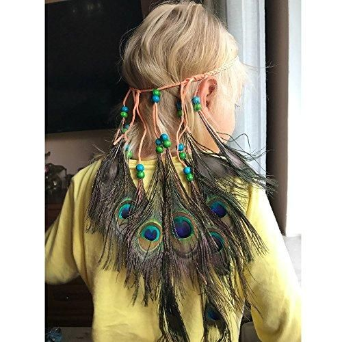 Peacock Feather Hippie Headband Headpiece with Braided Beads #hairbands