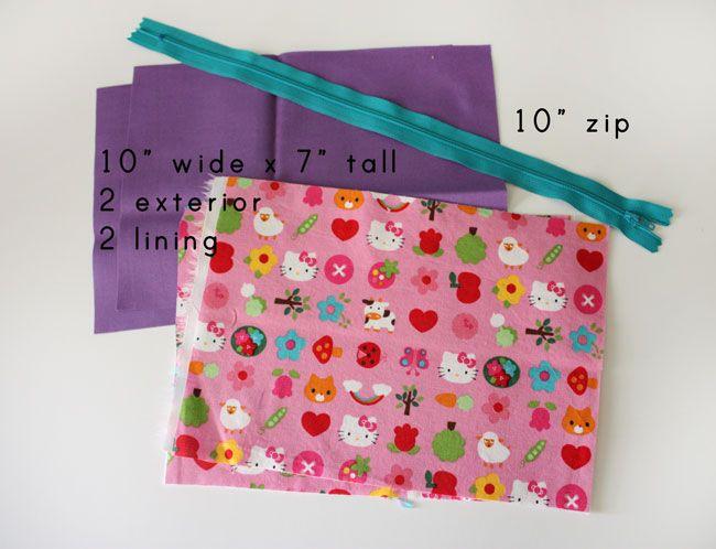 open wide zippered pouch: DIY tutorial | crafts | Zipper