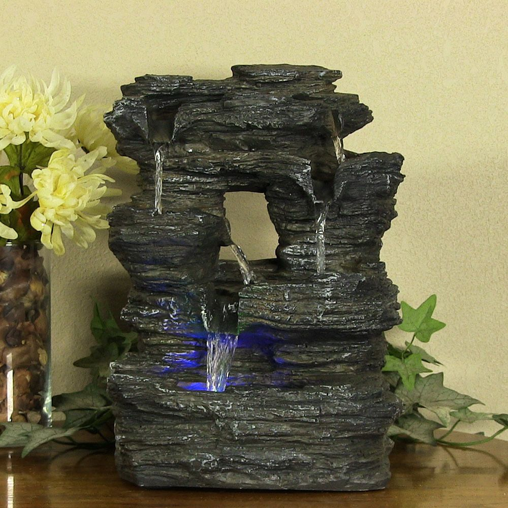 New Indoor Tabletop Rock Falls Electric Led Light Water Fountain
