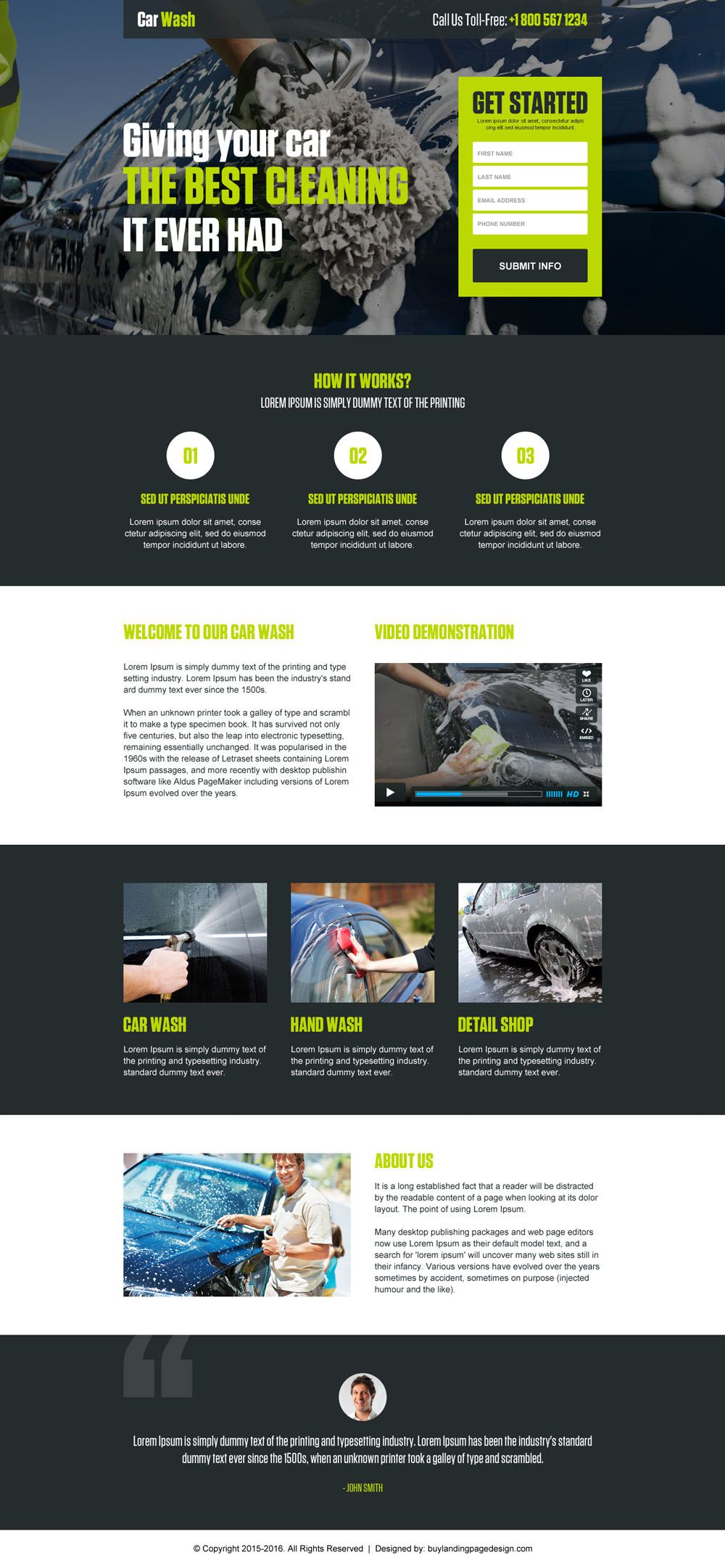 car cleaning lead capture landing page design template | car design ...