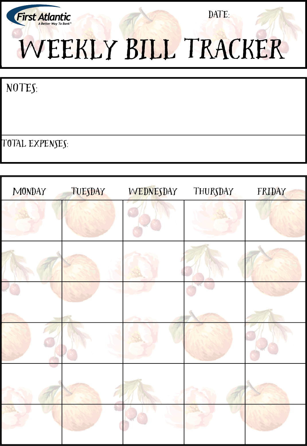 Free Weekly Bill Tracker And Planner Printable