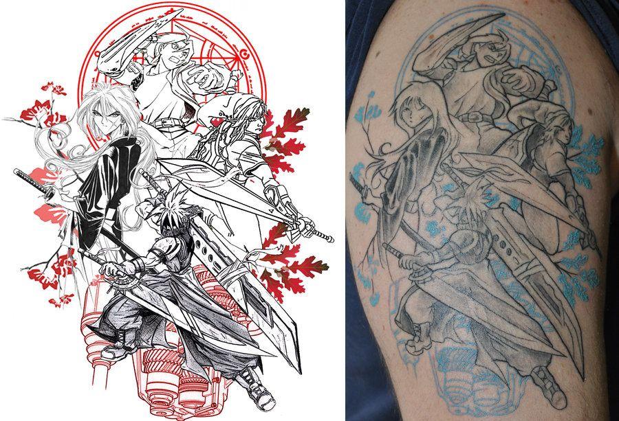 Anime Videogame Tribute Tattoo By Vanessavelez Deviantart Com On Deviantart Gaming Tattoo Anime Tattoos Tribute Tattoos
