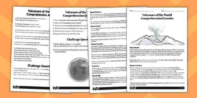 World Volcanoes Reading Comprehension Activity Volcano Worksheet