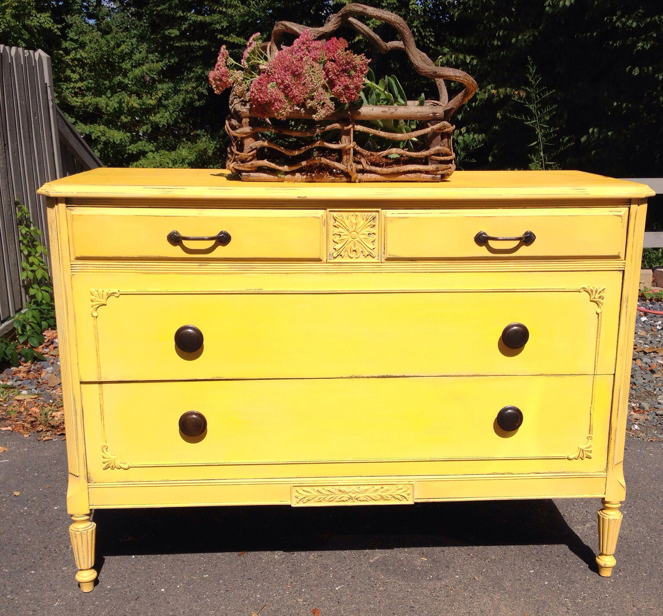 Vintage Golden Rod Yellow Bureau