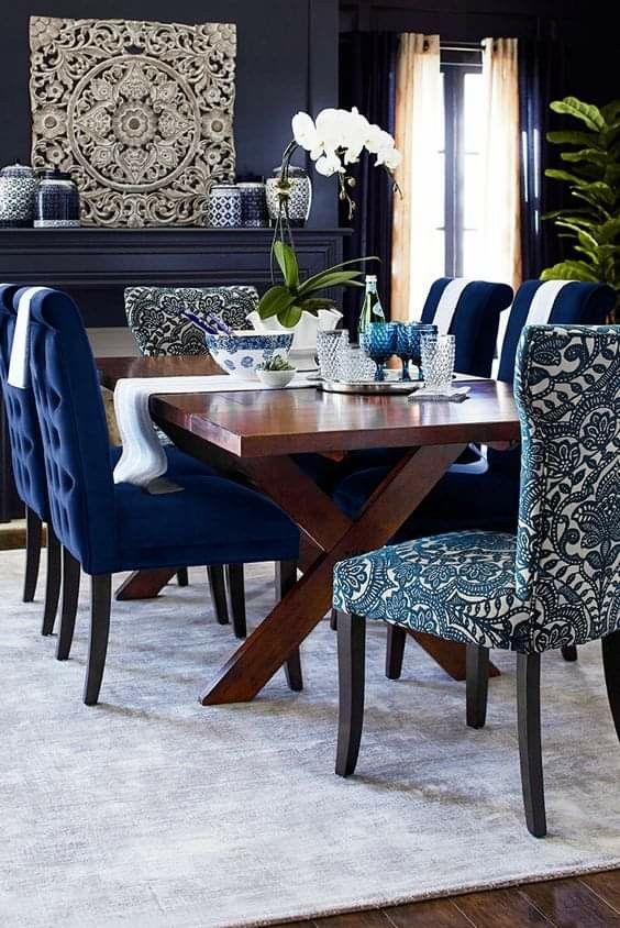 Dining Room Blue, Blue Dining Room Chairs