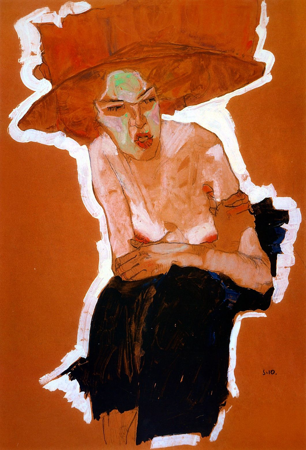 The scornful Woman (Gertrude Schiele), 1910 - Egon Schiele  Gouache, watercolor and charcoal with white highlighting, 45 x 31.4 cm  Vienna, Wien Museum